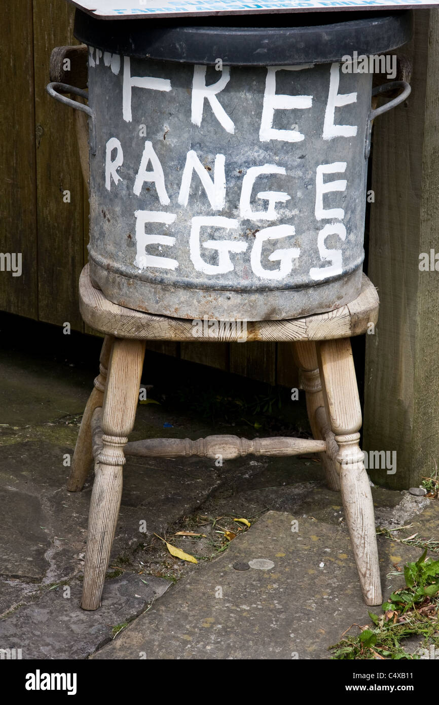 Free range eggs for sale, Bolton by Bowland, Forest of Bowland, Lancashire, England,UK - Stock Image