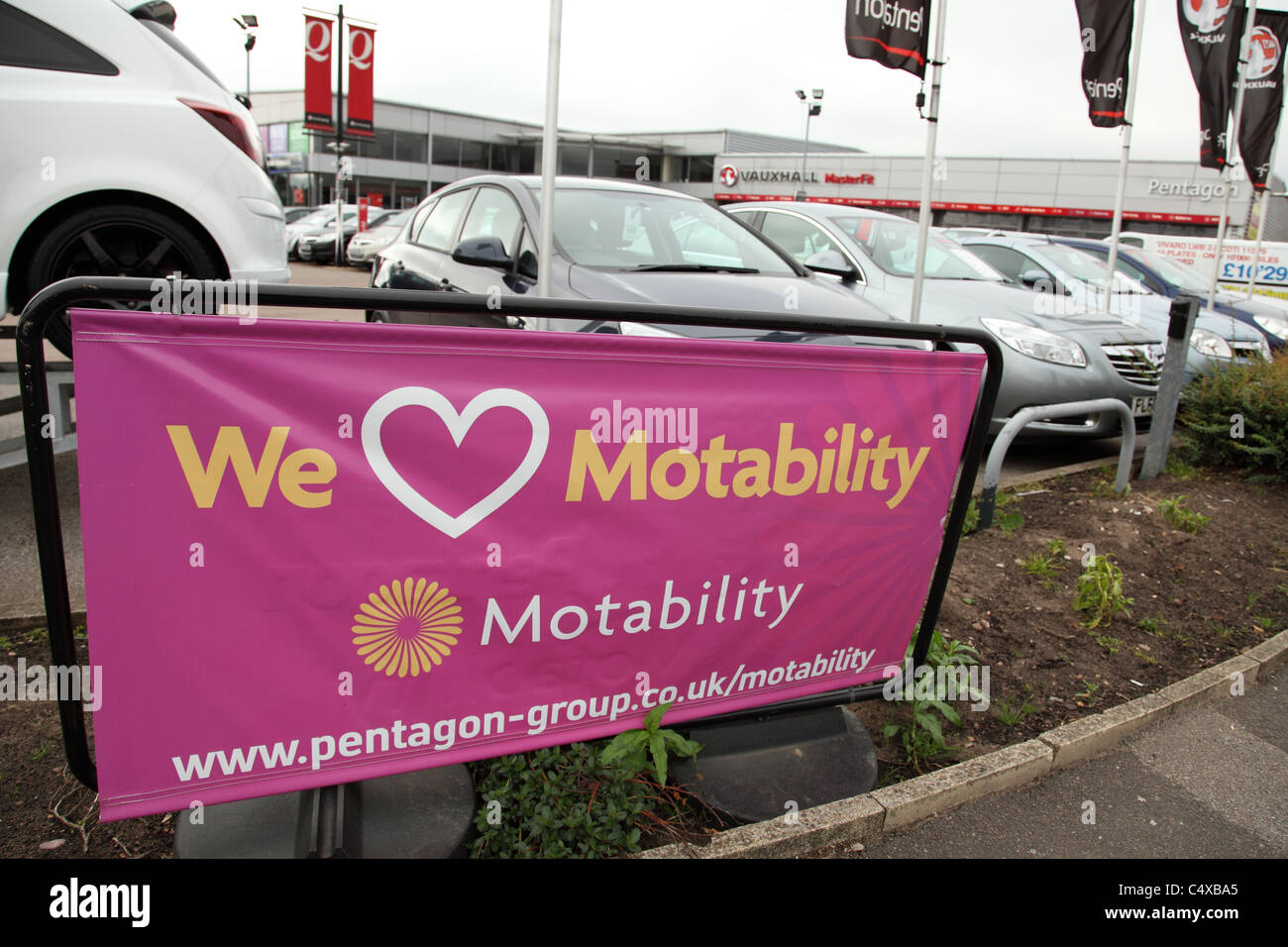 A garage operating the Motability scheme in the U.K. - Stock Image