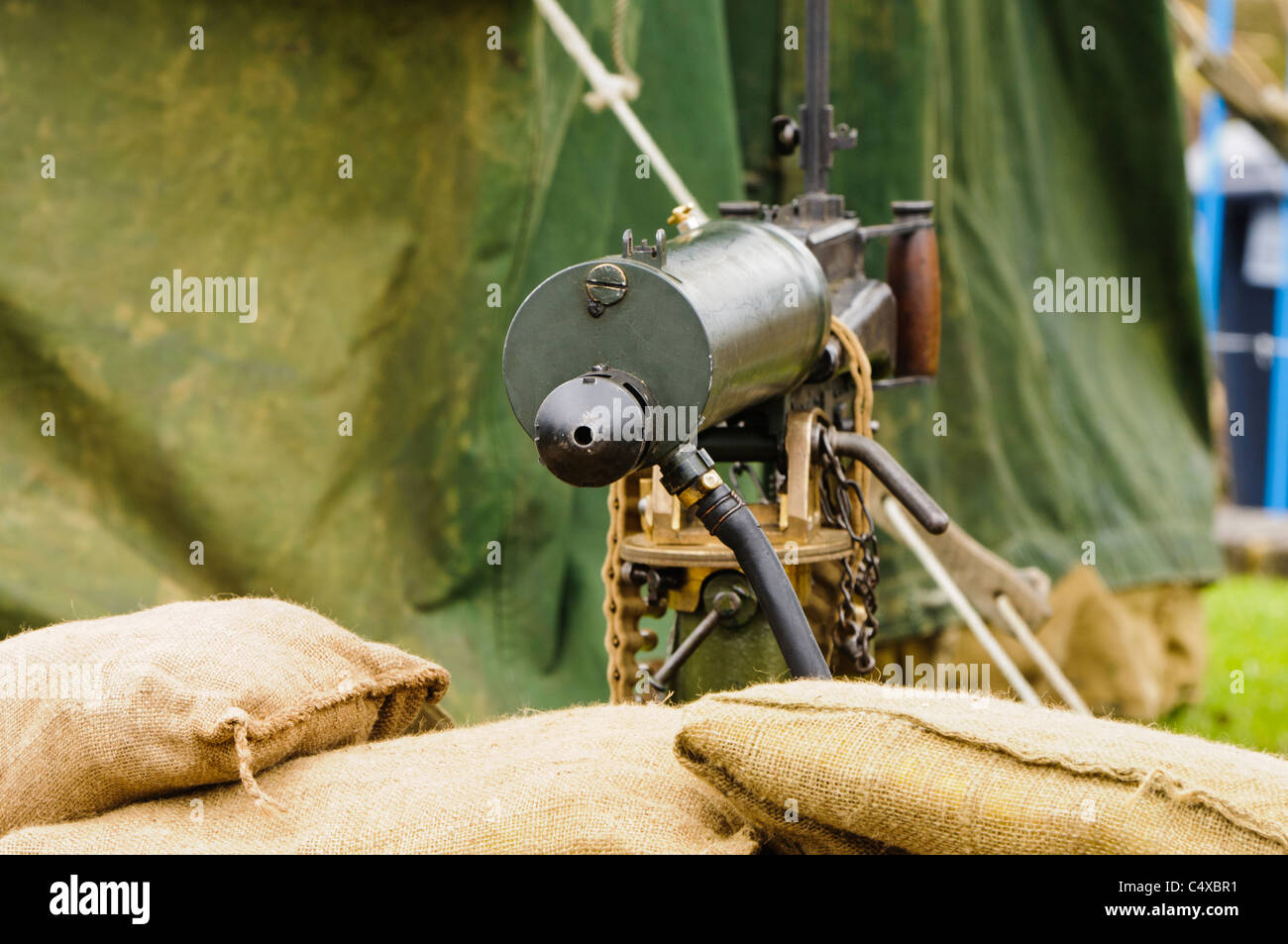 Water-cooled medium machine gun - Stock Image