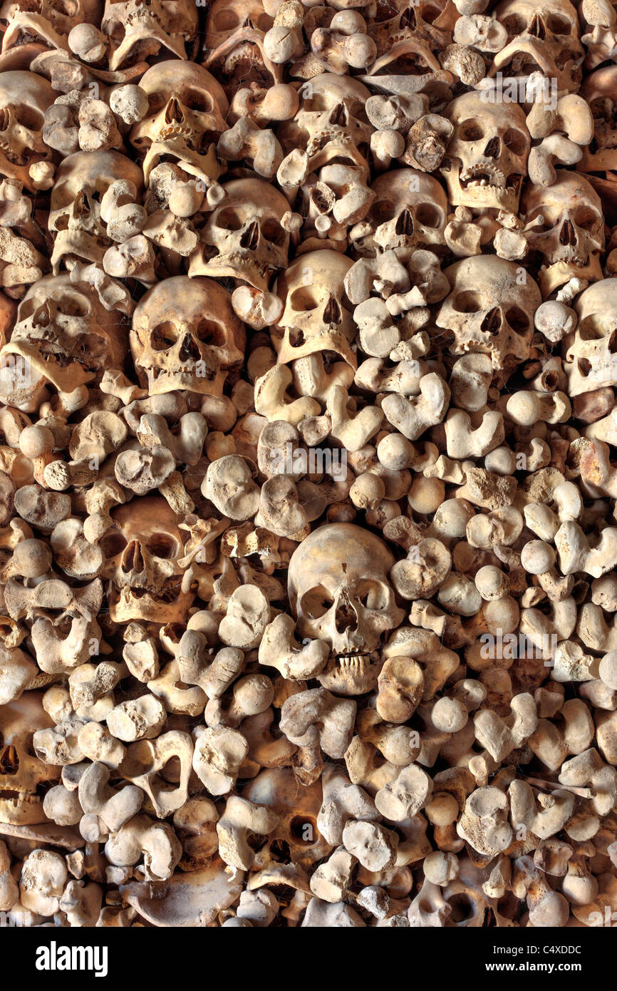 Sculls and bones, ossuary of the church of Santa Maria de Wamba, Valladolid, Castile and Leon, Spain - Stock Image