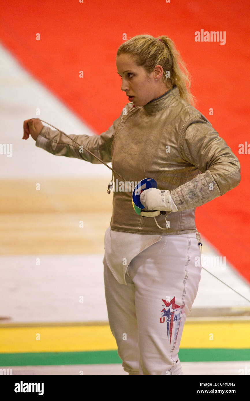 Mariel Zagunis (USA) competing at the 2011 New York Saber World Cup. Stock Photo