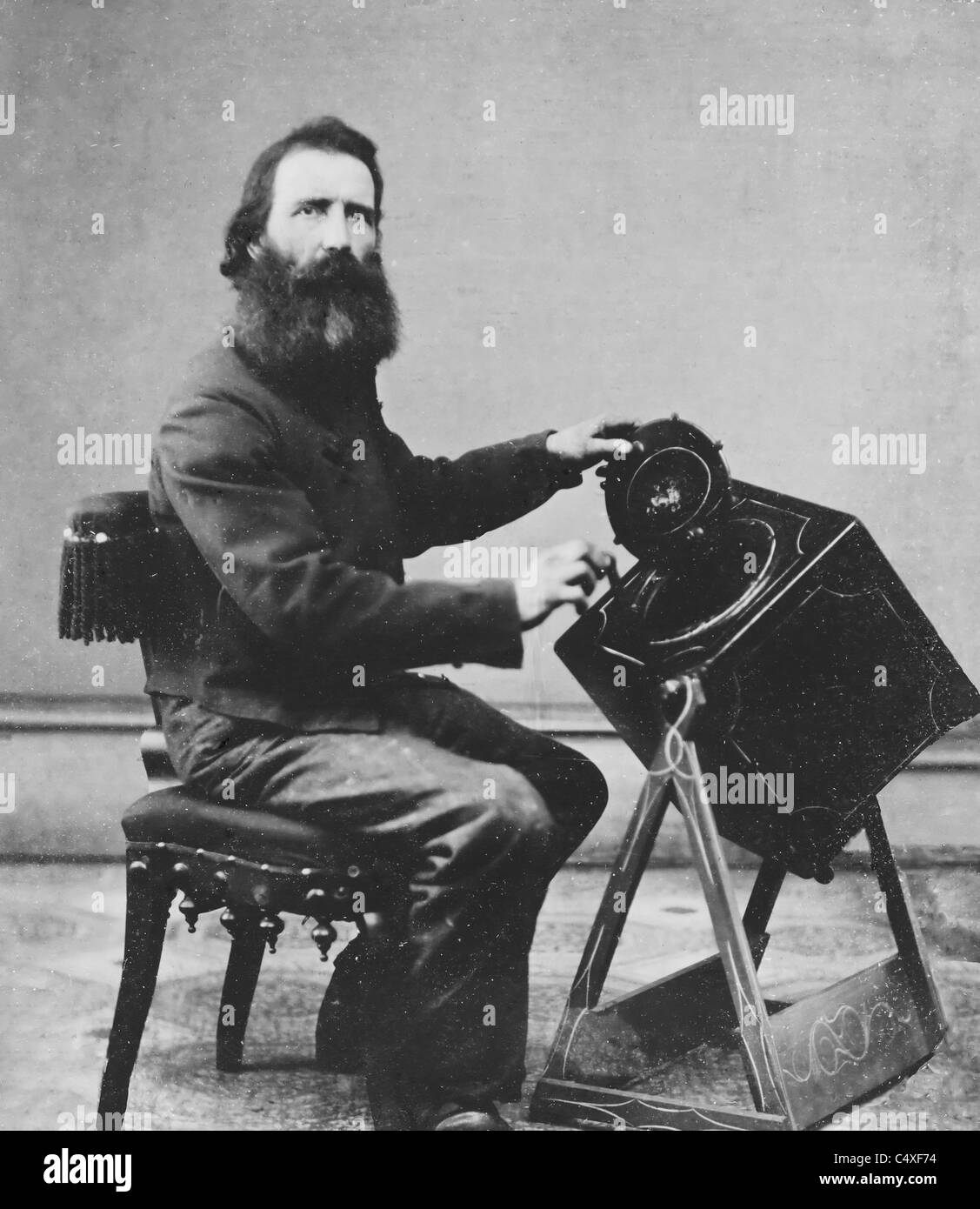 Civil War induction officer with lottery box for draft - USA Civil War, circa 1863 - Stock Image