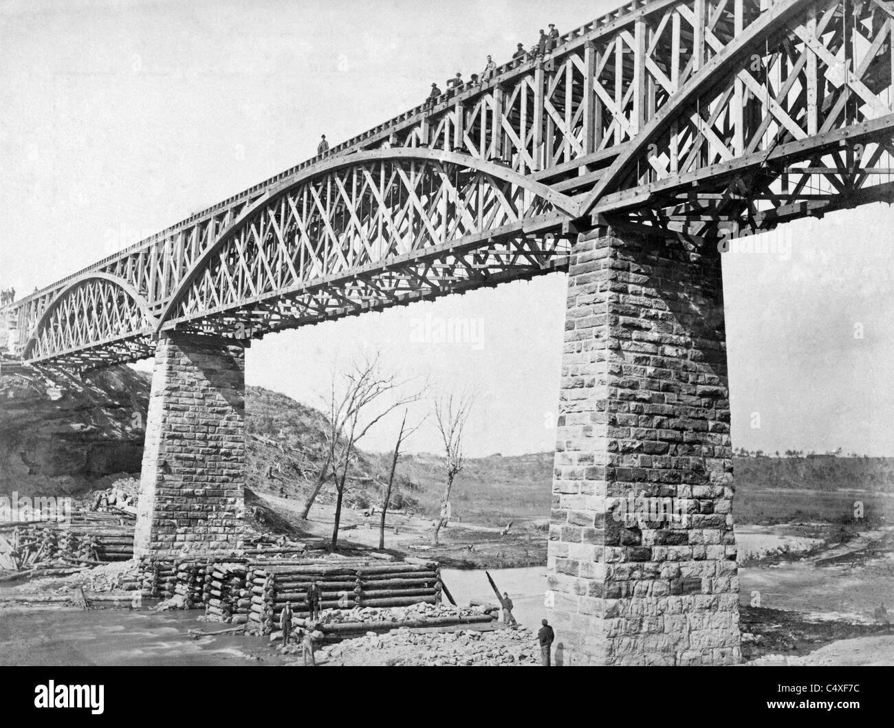 Truss Black And White Stock Photos Images Alamy Bridge Diagram Track Pony By Photograph Showing A Built For The Aquia Creek Fredericksburg Potomac Railroad