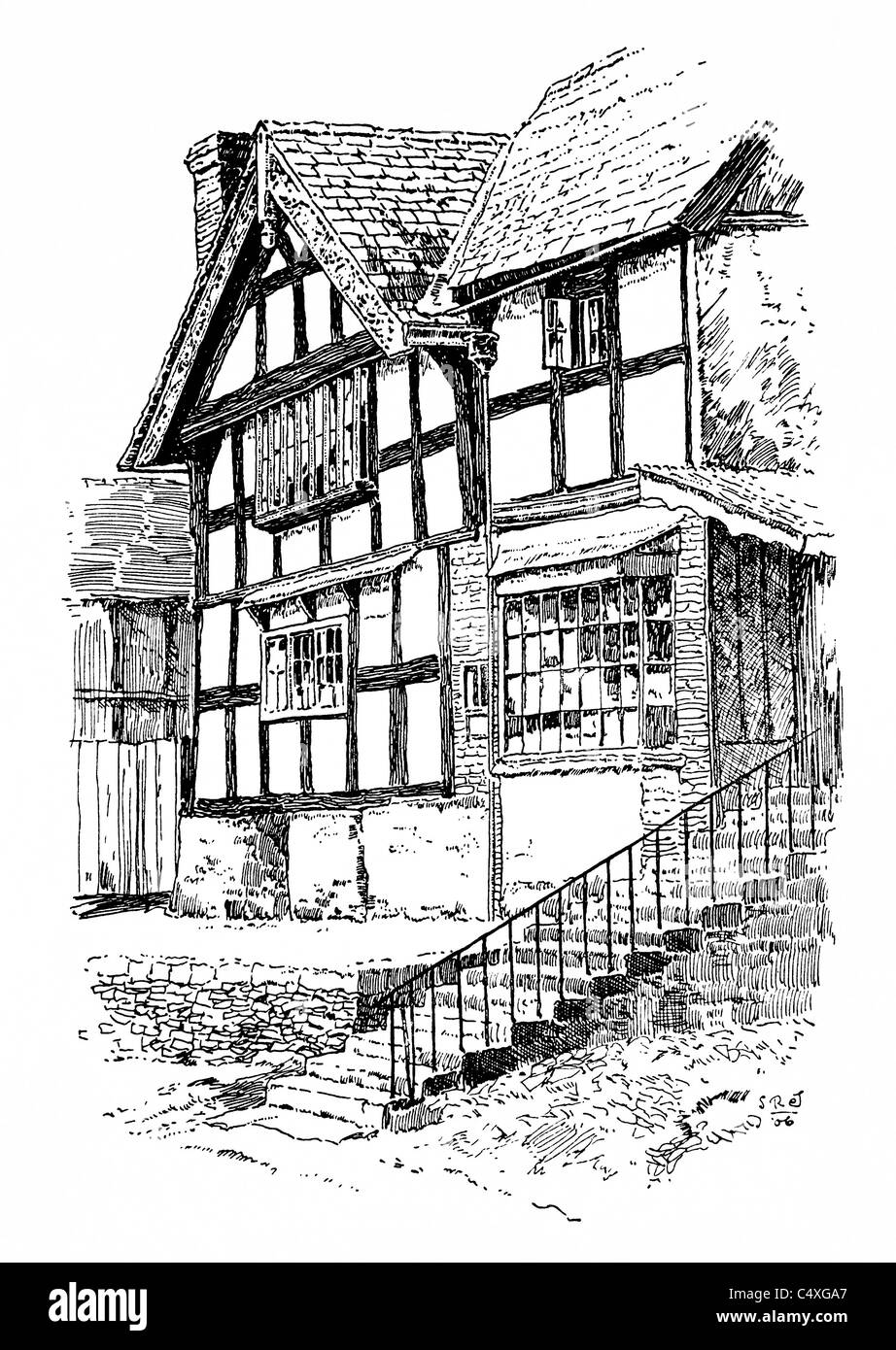 Pembridge, Herefordshire - pen and ink illustration from 'Old English Country Cottages' by Charles Holme, - Stock Image