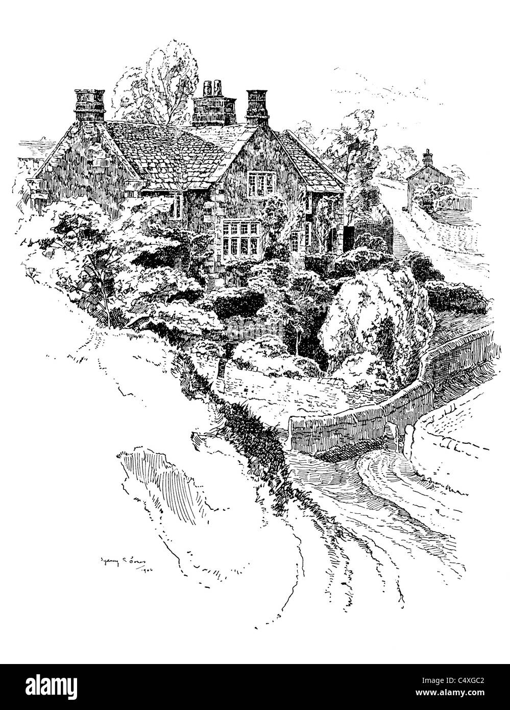 Alport, Derbyshire - pen and ink illustration from 'Old English Country Cottages' by Charles Holme, 1906. - Stock Image