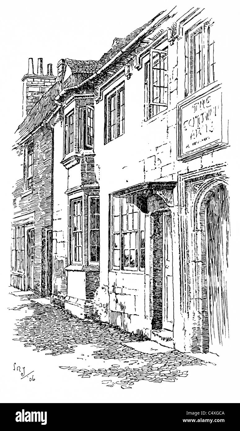 Burford, Oxfordshire - pen and ink illustration from 'Old English Country Cottages' by Charles Holme, 1906. - Stock Image