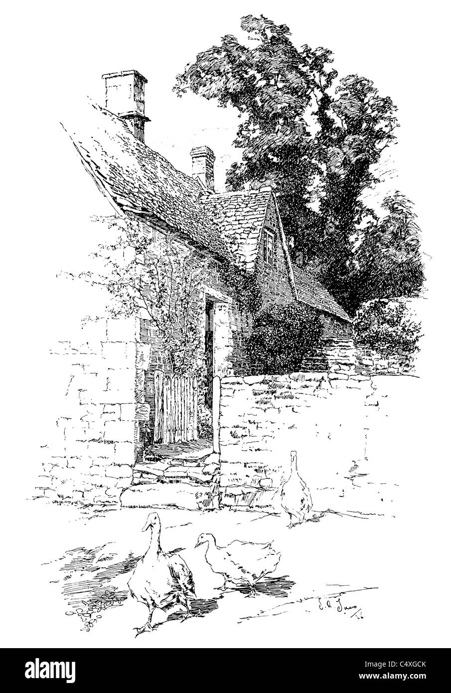 Arlington, Gloucestershire - pen and ink illustration from 'Old English Country Cottages' by Charles Holme, - Stock Image