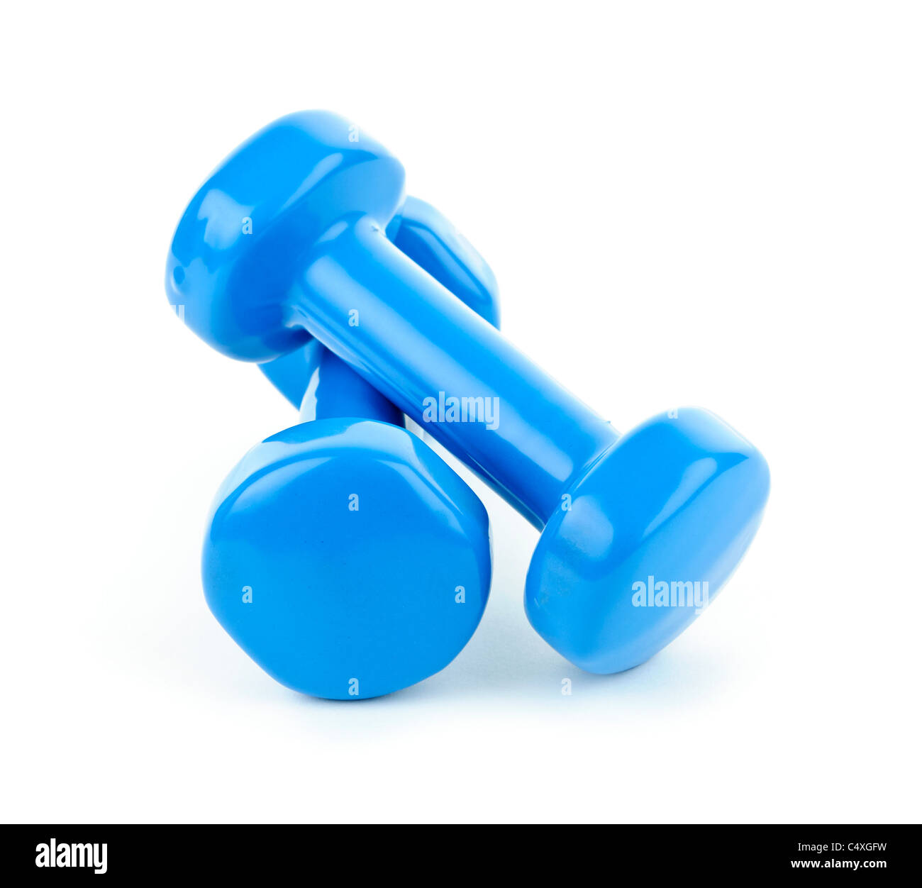 Two dumbbell free weights isolated on white background - Stock Image