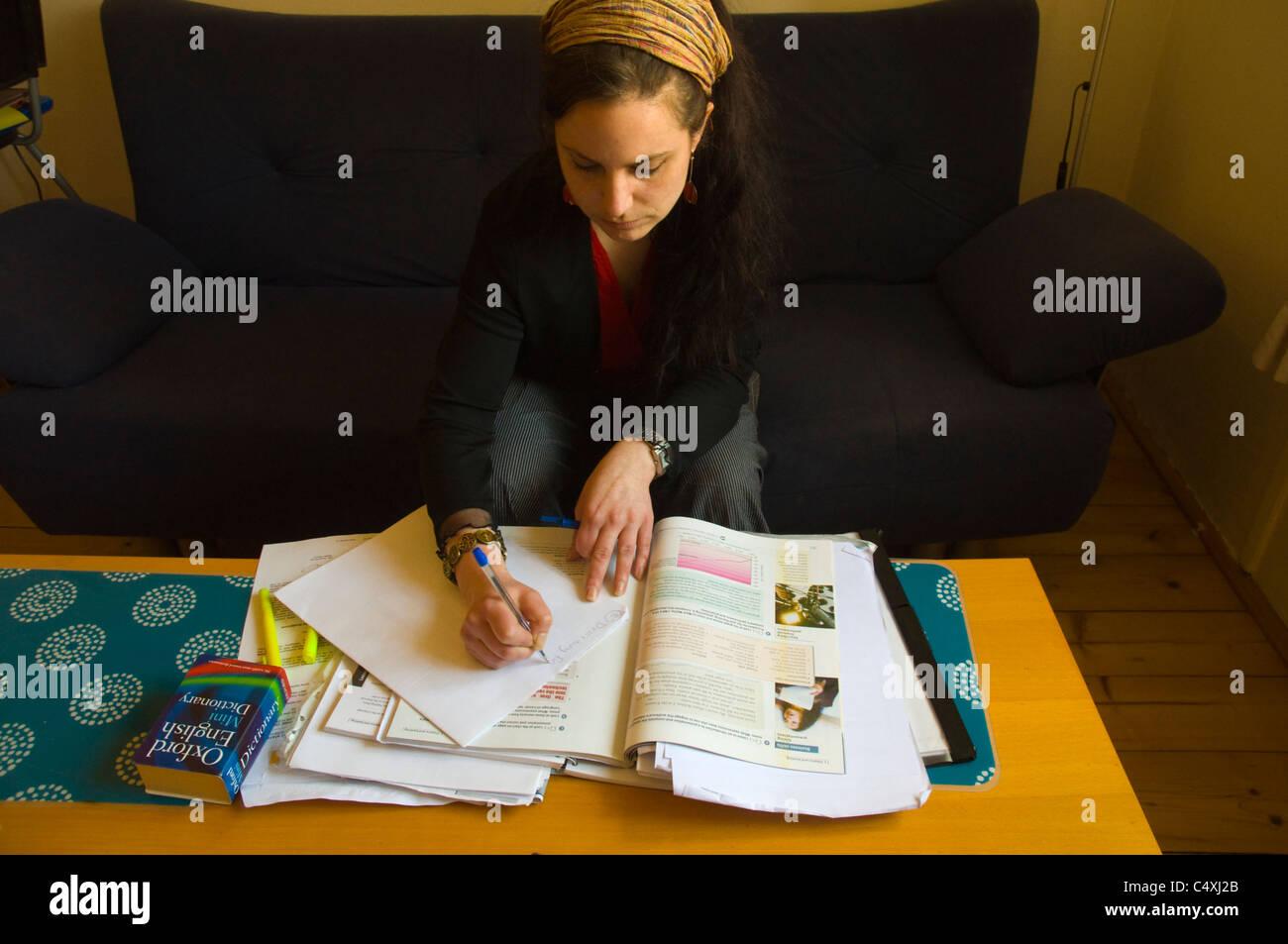 English teacher planning lessons Prague Czech Republic Europe - Stock Image