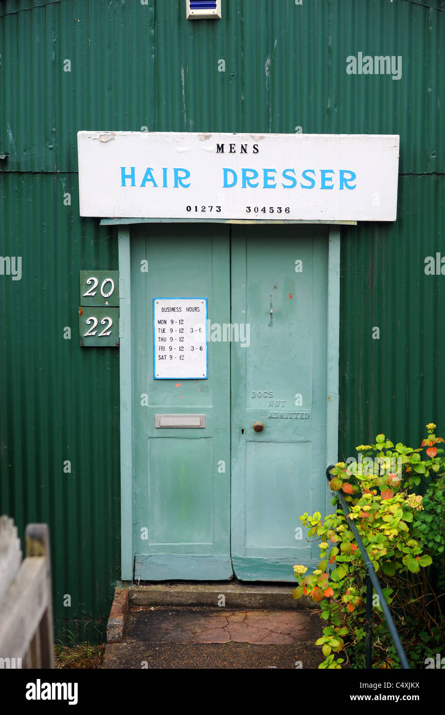 Old fashioned Hair Dresser mens hairdressing in Woodingdean near Brighton UK - Stock Image