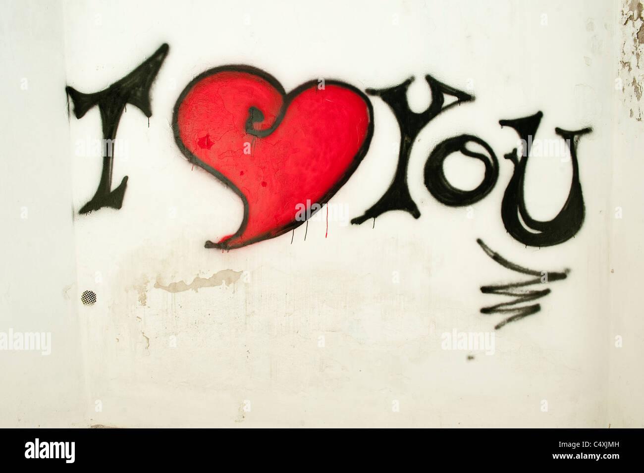 I Love You Graffiti Sign On White Wall Amalfi Coast Italy