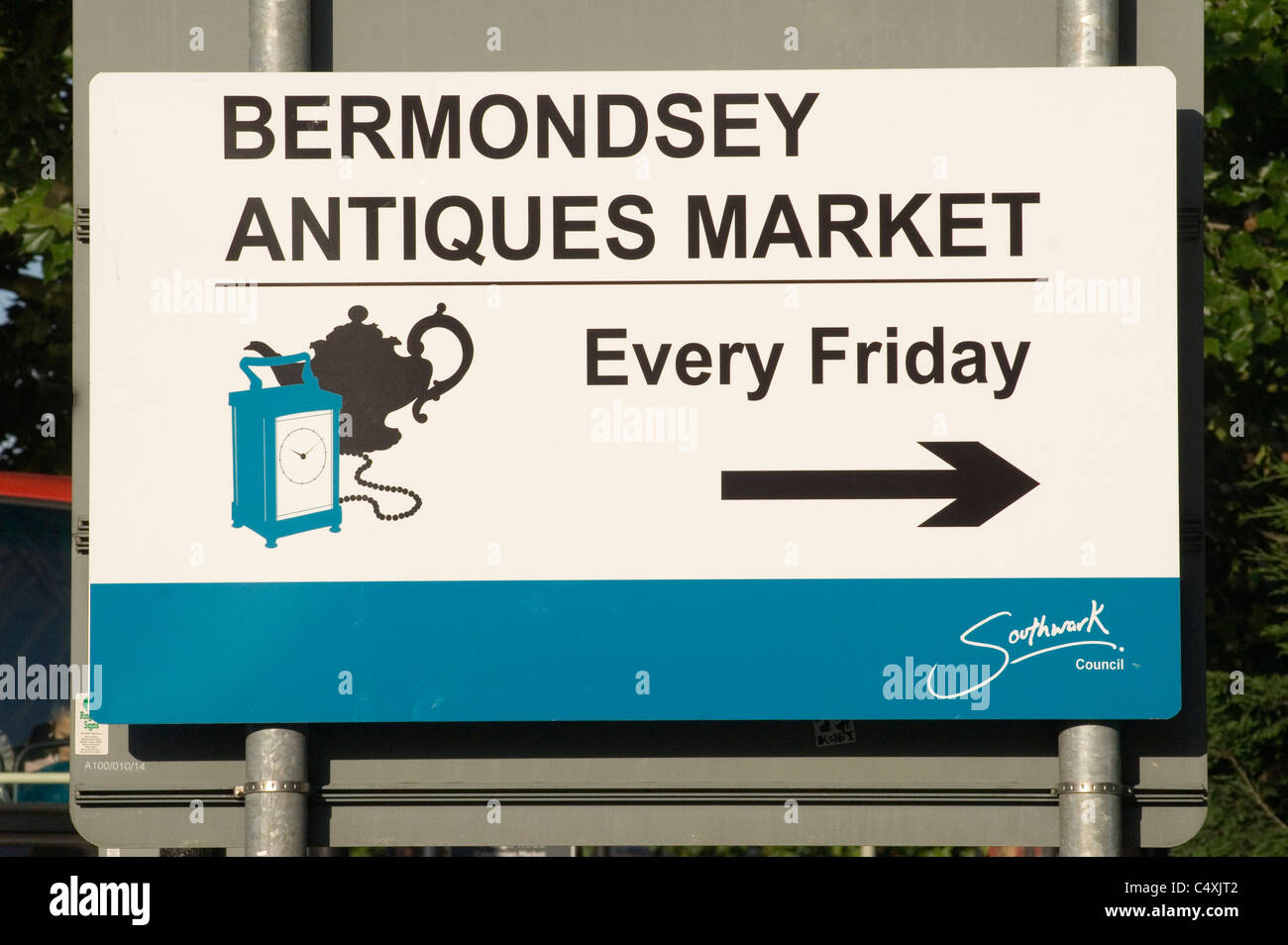 Bermondsey Antique market sign and also called New Caledonian Road market Southwark London Uk  HOMER SYKES - Stock Image