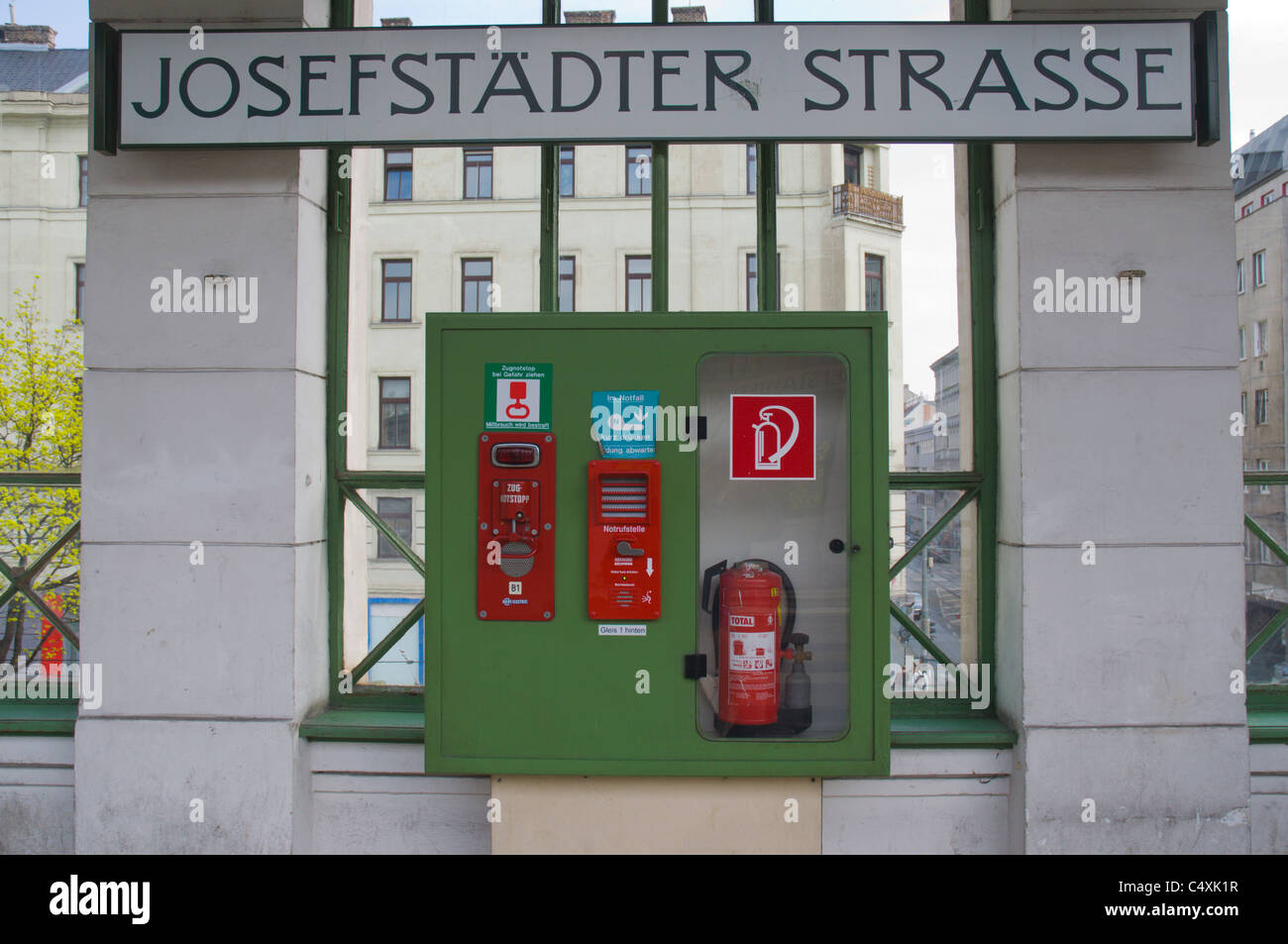 Fire safety equipment at Josefstädter strasse metro stop in Josefpstadt district Vienna Austria central Europe - Stock Image