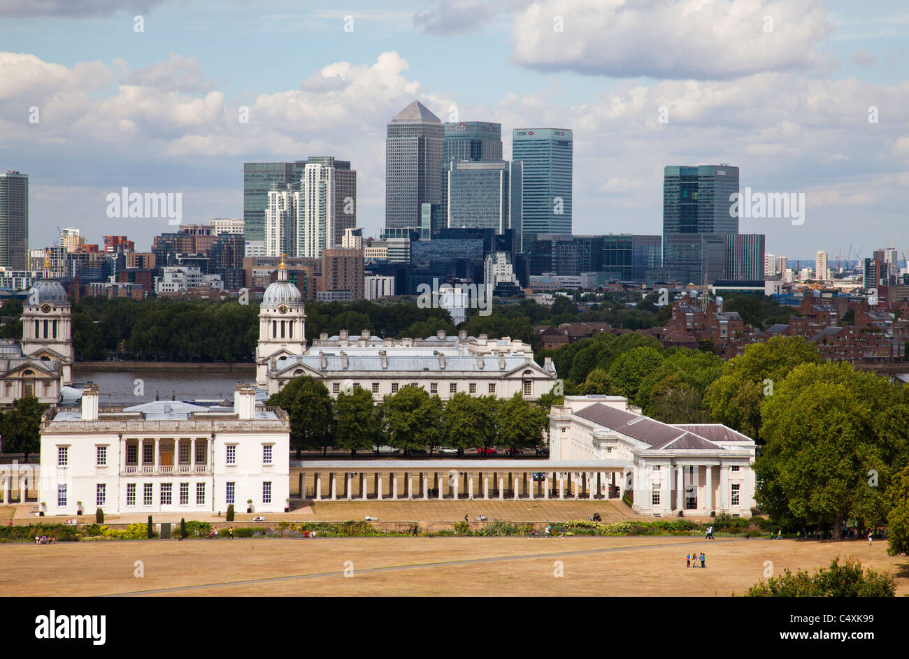 View towards London's new financial and bank district from Greenwich Hill on a summer day with historic World - Stock Image