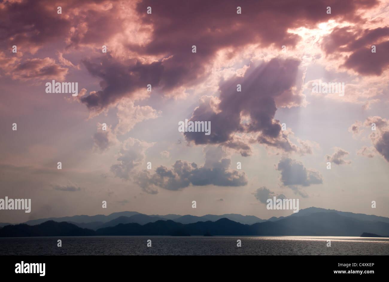 Costa Rica Nicoya peninsula and dramatic sky - Stock Image