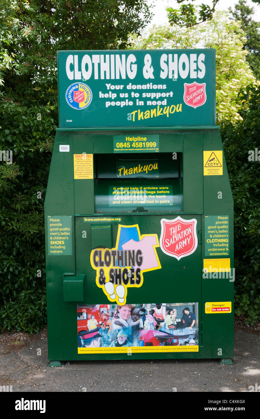A Salvation Army charity collection point for unwanted clothing & shoes. - Stock Image