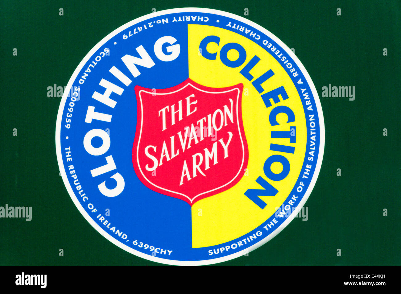 Salvation Army charity collection point for unwanted clothing. - Stock Image