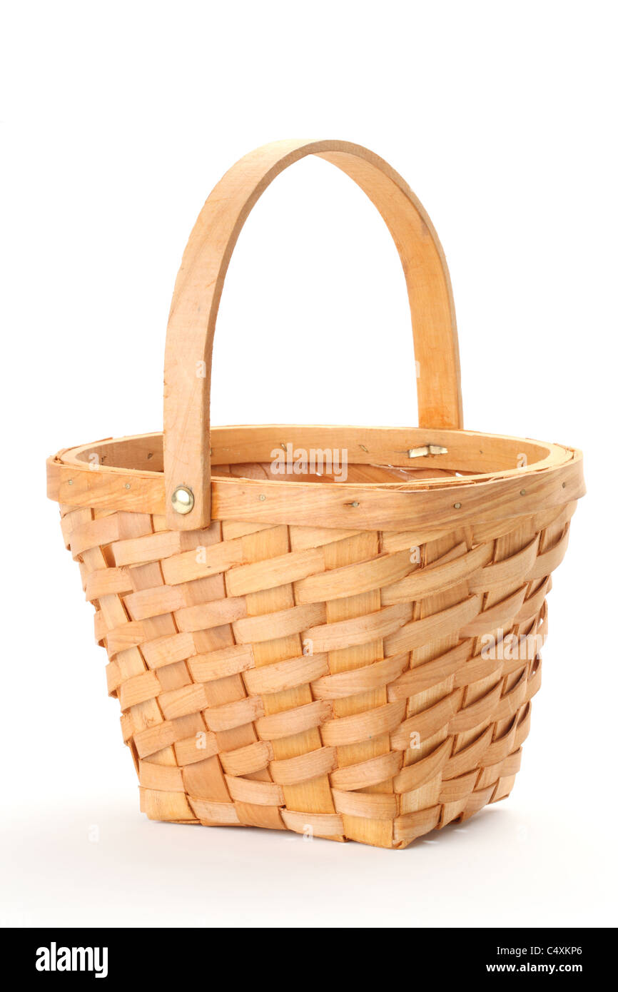 Small wicker basket isolated on white background.. - Stock Image