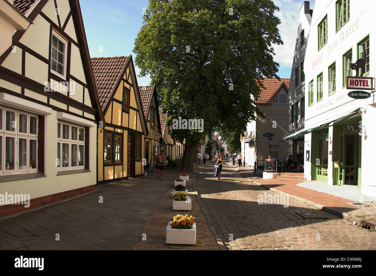 Cobbled street in the Old Town of Warnemunde, Germany Stock Photo