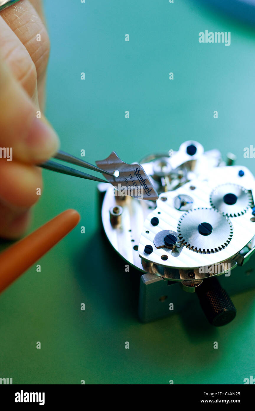 Production of watches in the Hanhart watch factory, Guetenbach, Germany - Stock Image