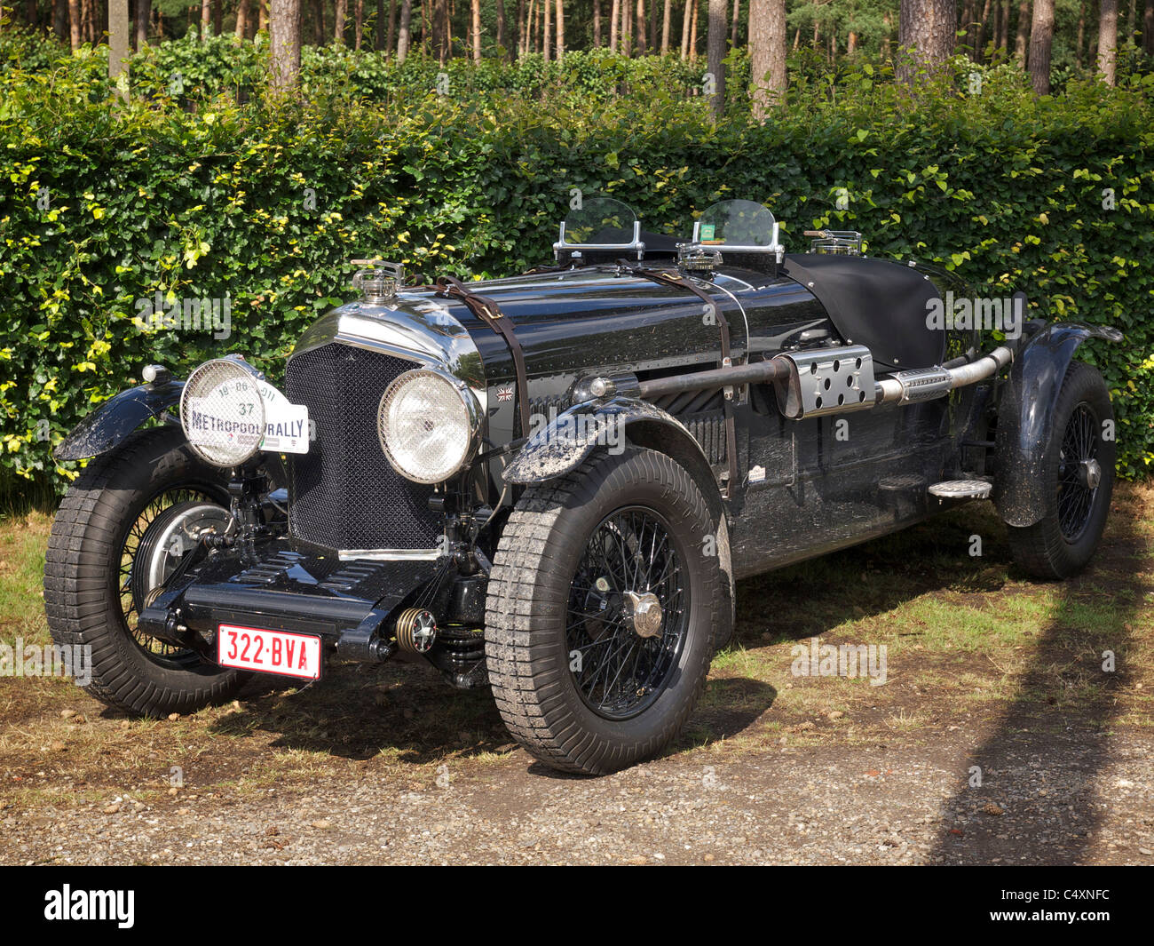 Parked vintage black Bentley racing car 1928 Stock Photo