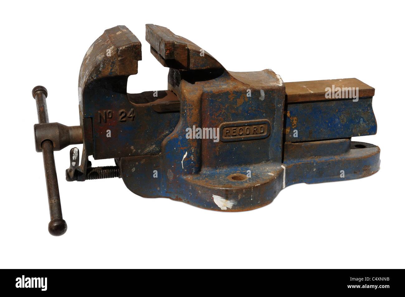 Heavy duty metal vice - Stock Image