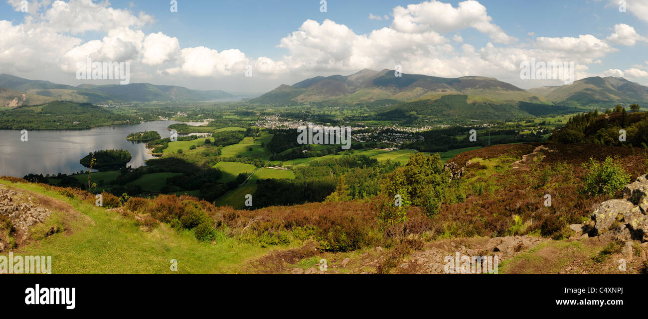 Keswick and Derwentwater from Walla Crag - Stock Image