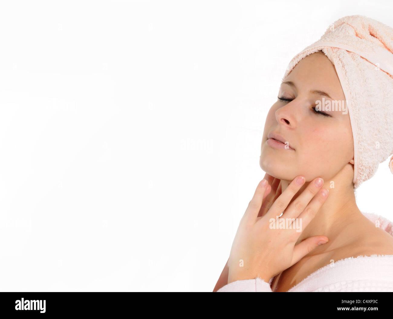 woman enjoying spa - Stock Image