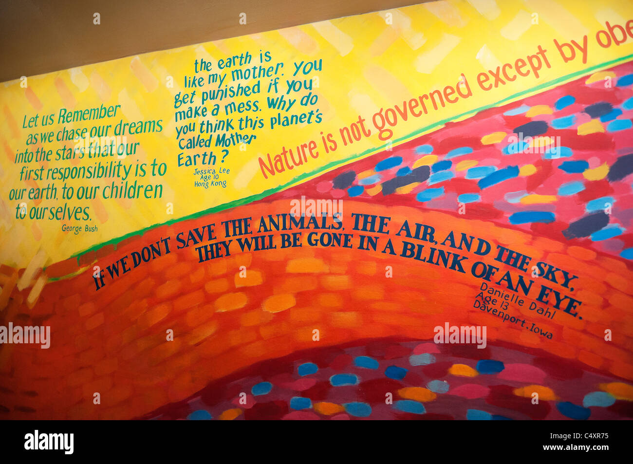 Epcot Theme Park and Center Orlando Florida The Land Pavilion interior mural celebrating the earth and our natural - Stock Image