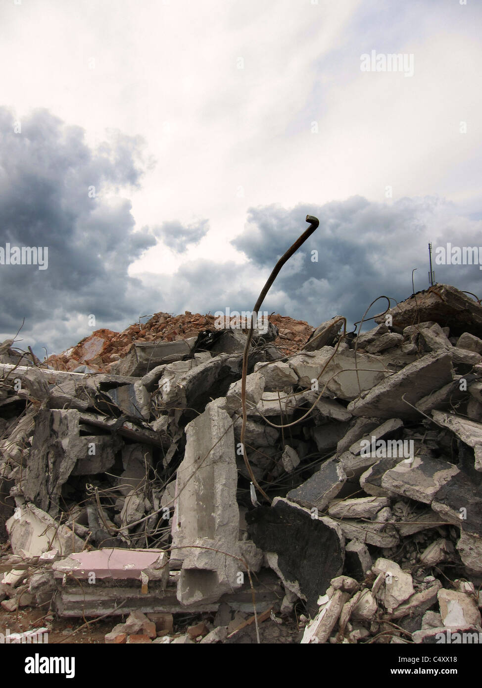 Debris from a demolished building - Stock Image
