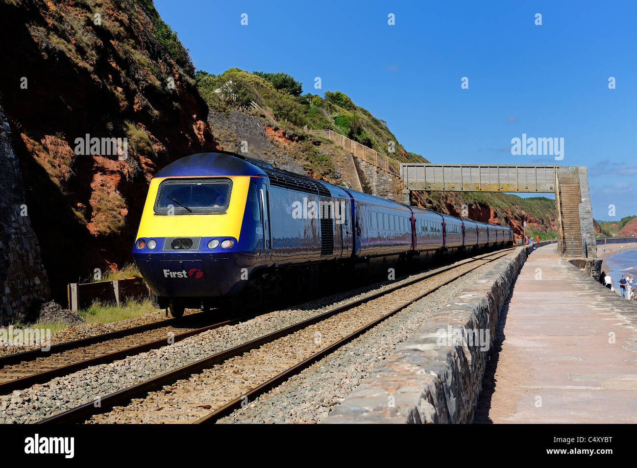An afternoon express train heading towards Dawlish Devon england uk - Stock Image