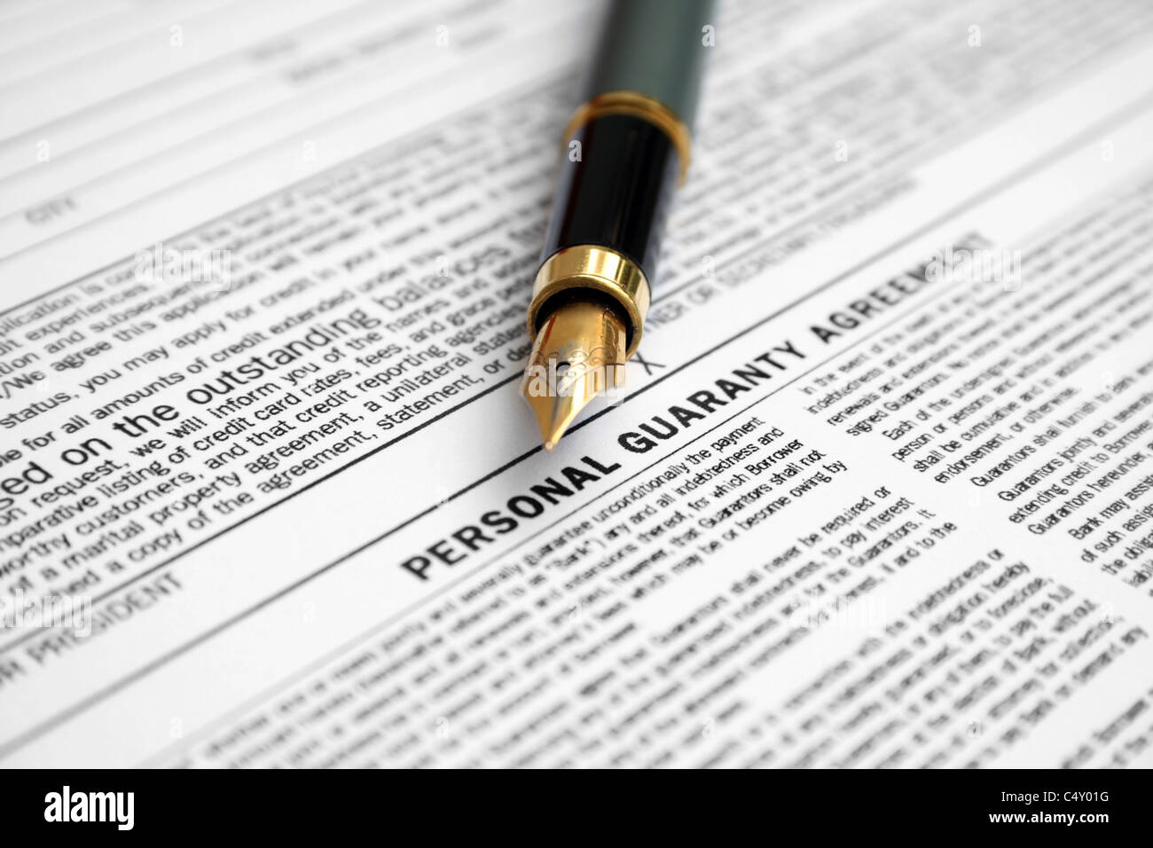 Personal Guaranty Agreement Form Stock Photo 37472108 Alamy