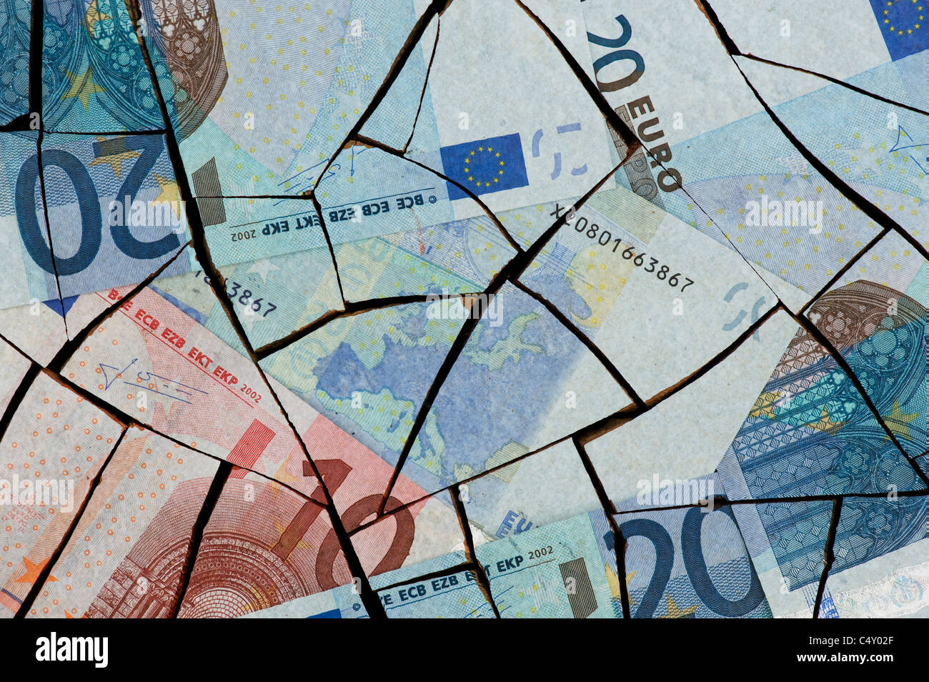 Cracked Euro notes concept - Stock Image