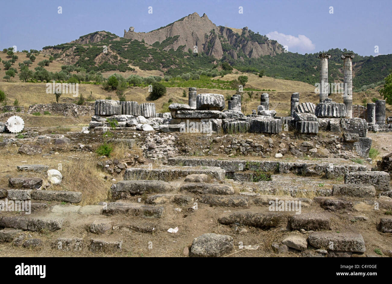 Archaic altar in from of the Temple of Artemis, Sardis, Turkey 010803_029 - Stock Image