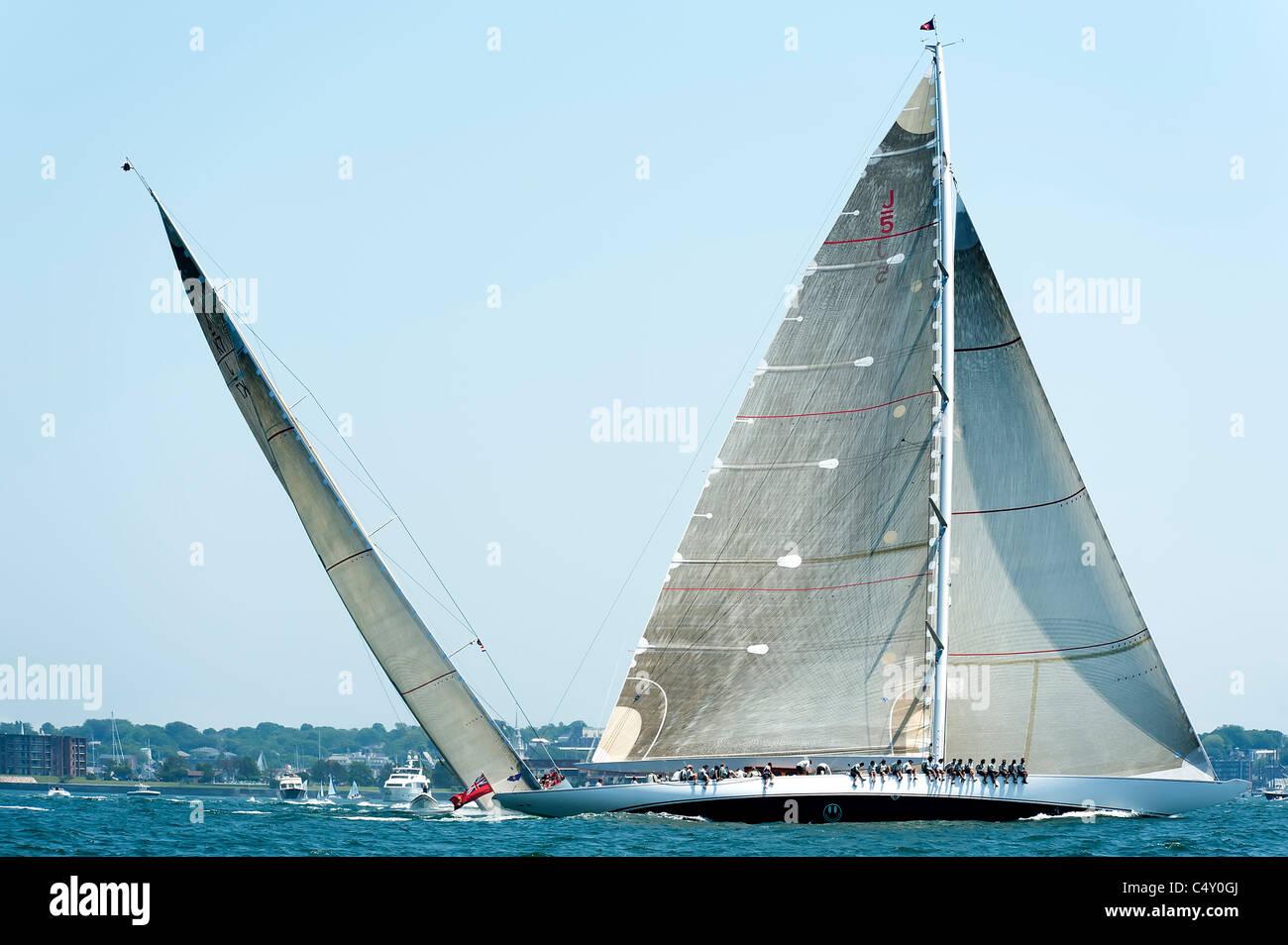 j class yachts racing Stock Photo