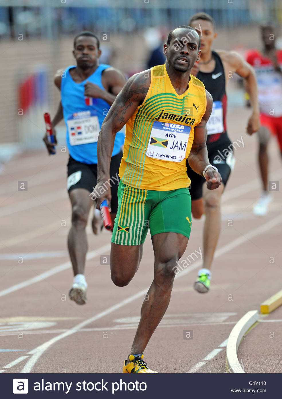 Jamaica's Sanjay Ayre runs in the 4x400 relay at the 2011 Penn Relays - Stock Image