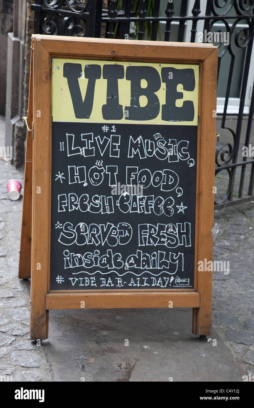 Vibe Bar Sign in Brick Lane, London, England, UK - Stock Image