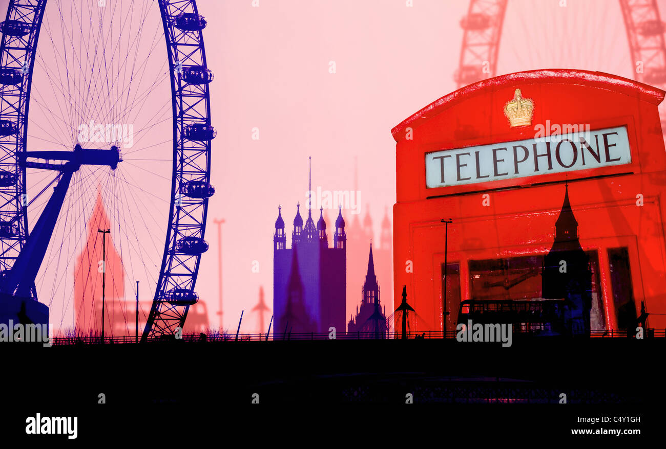 Funky London montage with Eye, Big Ben, Westminster Abbey London Bus and red phone box with Graphic Poster effect. - Stock Image
