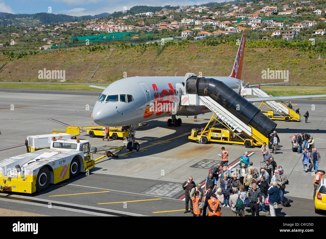Passengers disembarking from Jet2 aircraft at Funchal airport Madeira Portugal EU Europe - Stock Image
