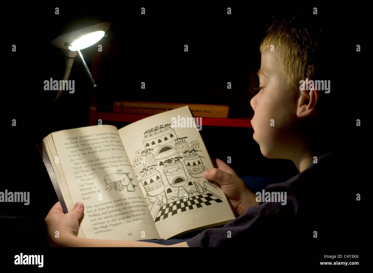 Book at Bedtime a seven year old boy reading a book in his bed using a lamp,young boy,Family It takes ingenuity - Stock Image