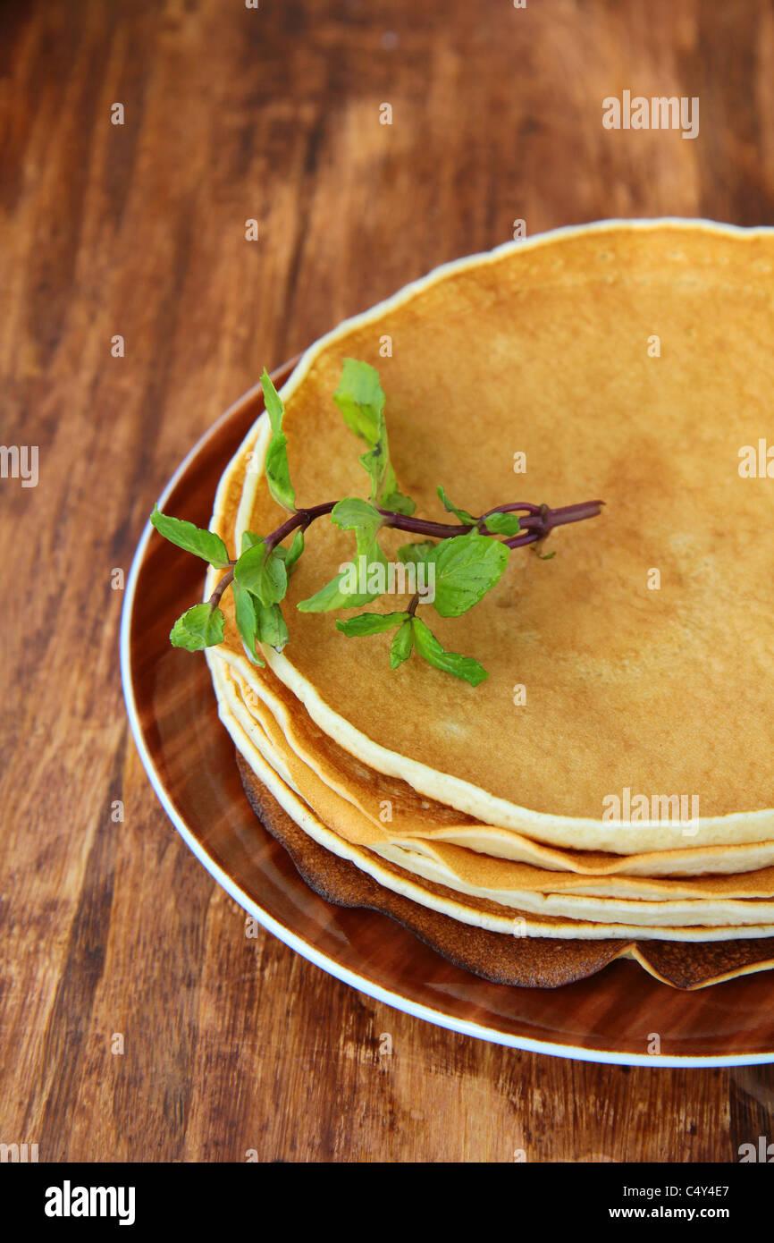 traditional American pancakes - Stock Image