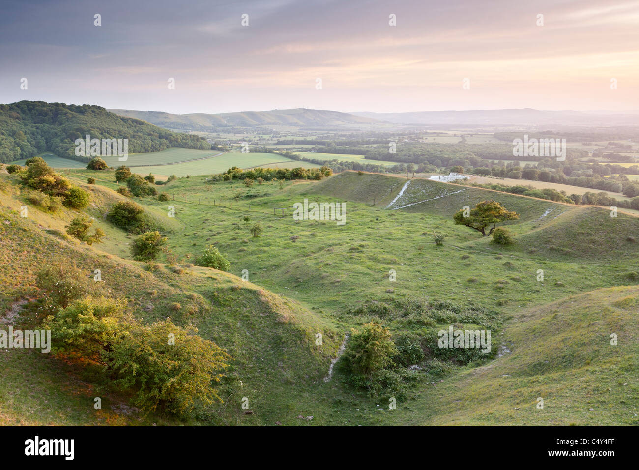 The view across the Low Weald, South Downs National Park, West Sussex, England, UK - Stock Image