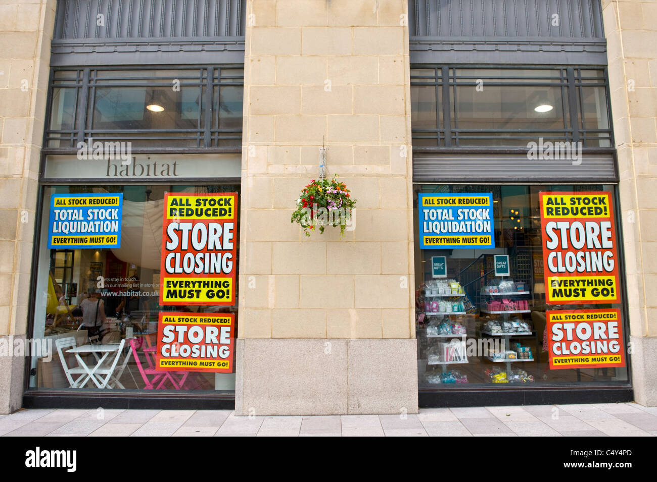 b351733dbbdb Habitat store closing window display posters signs Cardiff City Centre  South Wales UK - Stock Image