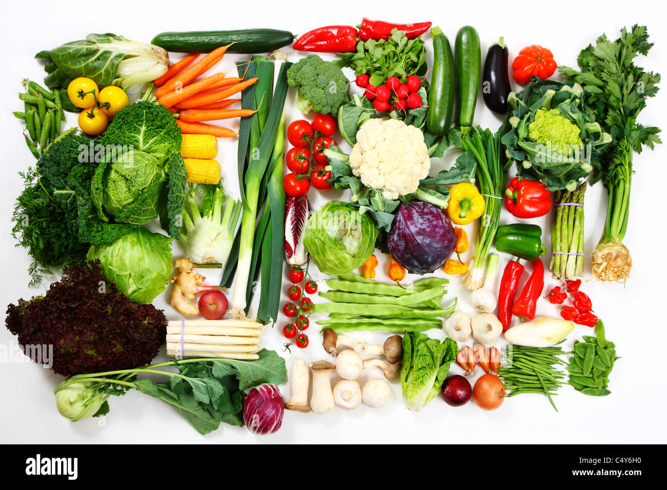 Many different vegetables and salad. Fresh market greens. Stock Photo
