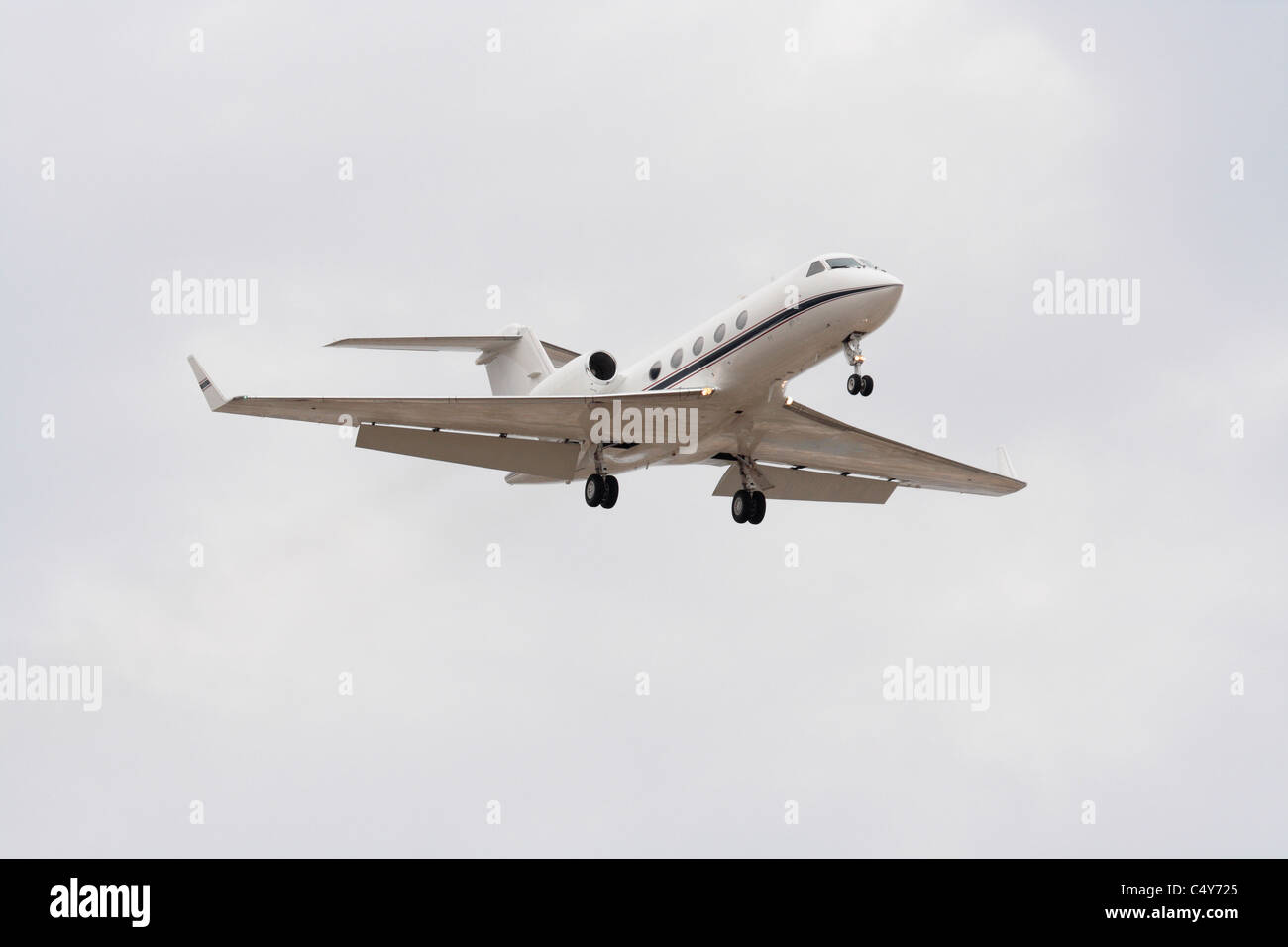 US Navy C-20A Gulfstream VIP transport jet plane on arrival - Stock Image