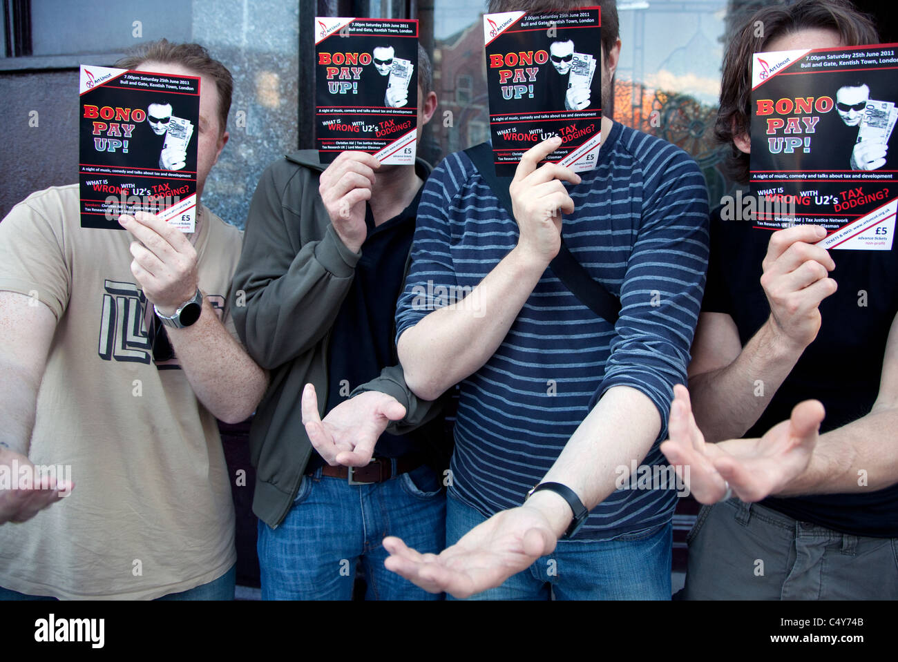 Supporters of Art Uncut at the Bono Pay Up! show at Bull & Gate, Kentish Town, London - Stock Image