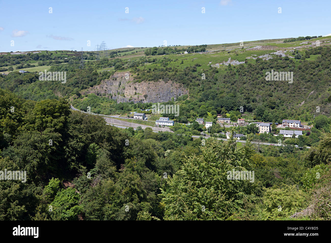 Blackrock village in the Clydach Gorge with the Heads of the Valleys road Wales UK - Stock Image