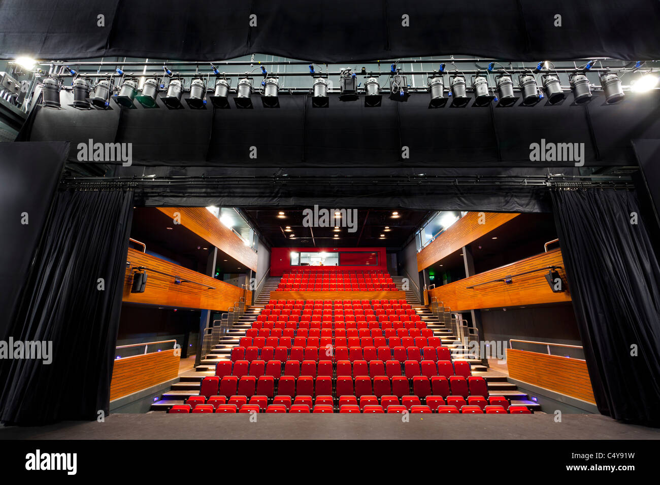 stepped seating on the auditorium of Berry Theatre looking from the stage - Stock Image
