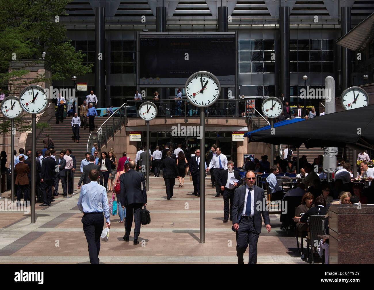 Six clocks at London's Canary Wharf - Stock Image