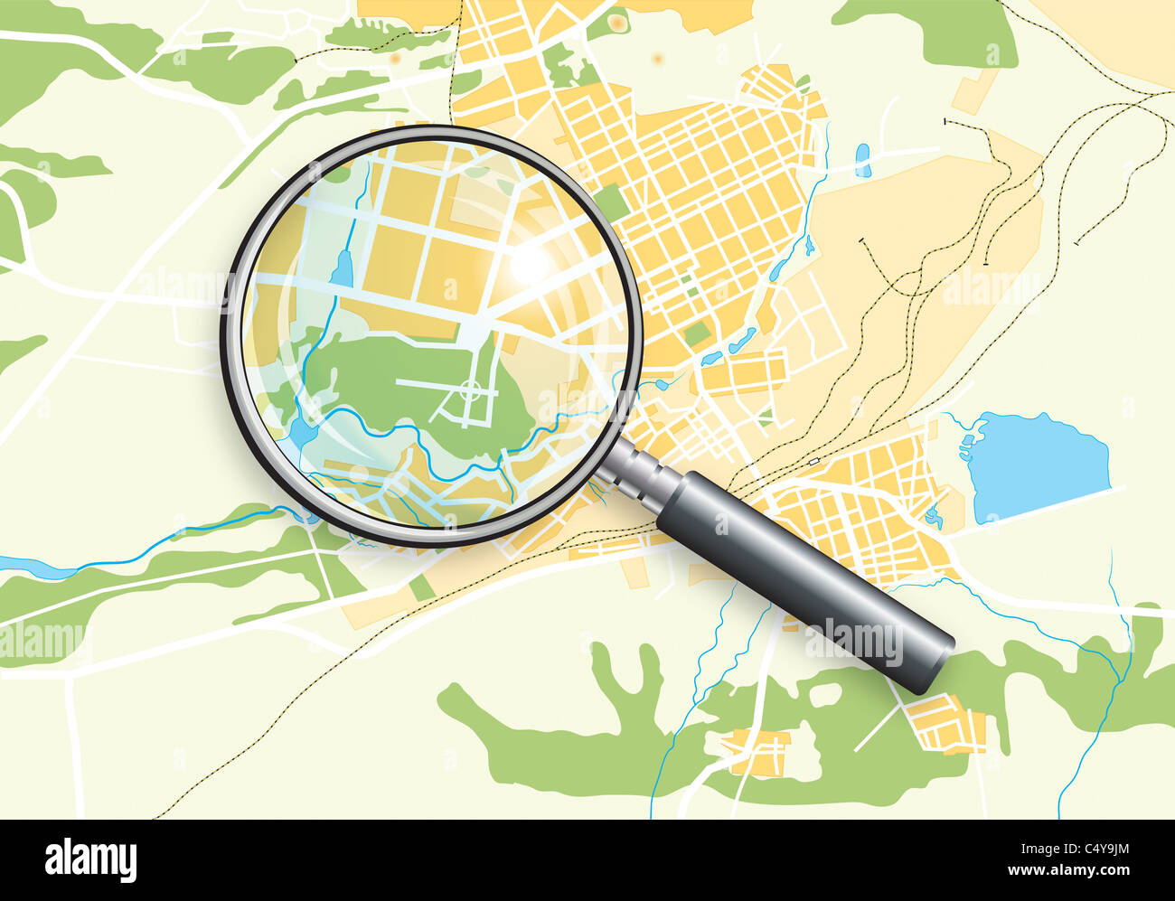 City Geo Map and Zoom Lens - Stock Image